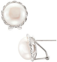 Sterling Silver White Pearl Omega-clip Studs