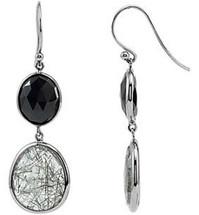 Sterling Silver Onyx & Quartz Earrings