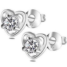 Ladies Stainless Steel Cubic Zirconia Heart Stud Earrings