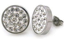 Ladies Stainless Steel Round Cubic Zirconia Stud Earrings