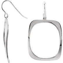Ladies Sterling Silver Square Drop Style Earrings