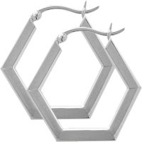 Sterling Silver Hexagon Hoop Earrings