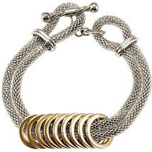 Two-Tone Stainless Steel Mesh Bracelet