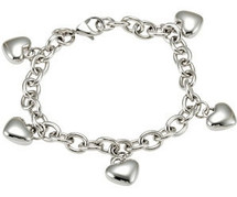 Stainless Steel Puffed Heart Charm Bracelet