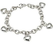 Stainless Steel Puffed Heart Charm Bracelet