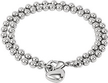 Stainless Steel Beaded Bracelet With Heart Charm