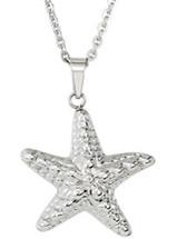 Stainless Steel Textured Starfish Pendant