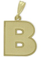 Yellow Gold Block Initial B Pendant