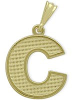 Yellow Gold Block Initial C Pendant
