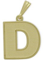 Yellow Gold Block Initial D Pendant