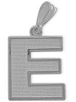 White Gold Block Initial E Pendant