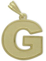 Yellow Gold Block Initial G Pendant