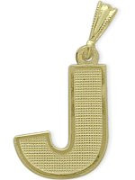 Yellow Gold Block Initial J Pendant