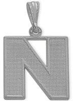 White Gold Block Initial N Pendant