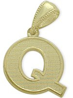 Yellow Gold Block Initial Q Pendant