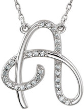 Sterling Silver Diamond Initial A Pendant