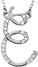 Sterling Silver Diamond Initial E Pendant
