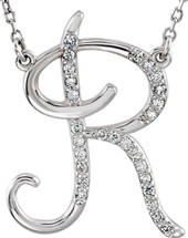 Sterling Silver Diamond Initial R Pendant