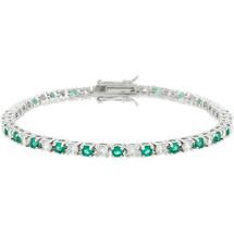 Ladies 10 Carat Created Emerald Tennis Bracelet