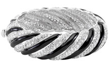 1 Inch White Gold Rhodium Black & White Crystal Bangle