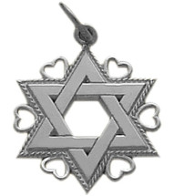 White Gold Star of David Jewish Pendant
