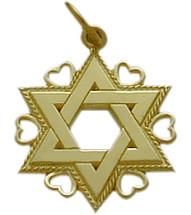 Yellow Gold Star of David Jewish Pendant