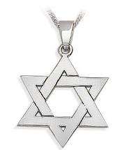 14 Karat Religious White Gold High Polish Star of David Jewish Pendant