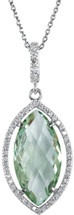 Silver Green Marquise Quartz and 0.28tcw Diamond Pendant