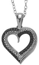 Sterling Silver Black Diamond Heart Pendant
