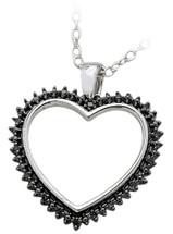 Ladies Sterling Silver Black Diamond Heart Pendant