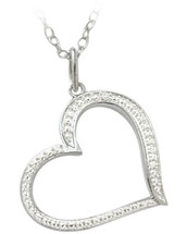 Ladies Sterling Silver Diamond Heart Pendant