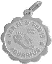 Round Sterling Silver Aquarius Zodiac Pendant