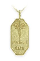 Yellow Gold Engravable Medical Data Pendant
