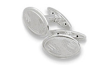 Men's Sterling Silver Oval Cufflinks