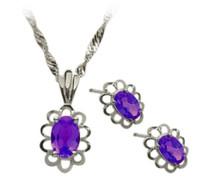Sterling Silver Amethyst Oval Pendant & Earrings Set