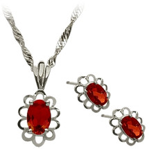 Sterling Silver Created Ruby Oval Pendant & Earrings Set