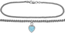 10 Karat White Gold CHOOSE YOUR STONE Curb Heart Charm Anklet