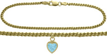 10 Karat Yellow Gold CHOOSE YOUR STONE Curb Heart Charm Anklet