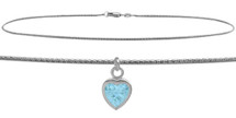 10 Karat White Gold CHOOSE YOUR STONE Rope Heart Charm Anklet