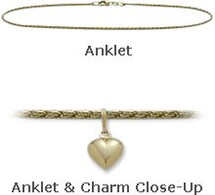 "Yellow Gold 10"" Solid Rope Style with Heart Charm Anklet"