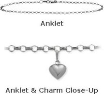 "White Gold 10"" Belcher Style Anklet with 9mm Heart Charm"