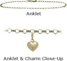 "Yellow Gold 10"" Belcher Style Anklet with 9mm Heart Charm"