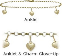 """Yellow Gold 10"""" Belcher Style 3 Heart Charm Anklet"""