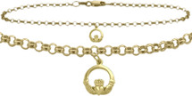 10 Karat Yellow Gold Celtic Charm Cable Anklet