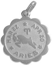Round Sterling Silver Aries Zodiac Pendant