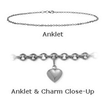 "10"" White Gold Belcher Style Anklet with 9mm Heart Charm"