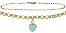 10 Karat Yellow Gold CHOOSE YOUR STONE Cable Heart Charm Anklet