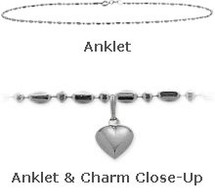 "White Gold 10"" Bead Style Anklet with 9mm Heart Charm"