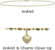 "Yellow Gold 10"" Bead Style Anklet with 9mm Heart Charm"