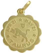 10 Karat Yellow Gold Taurus Zodiac Pendant (Apr 21 - May 21)